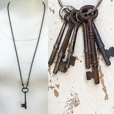 Real Antique Skeleton Key Necklace pendant Men's jewelry old steampunk victorian - Steampunk Dress Up Male