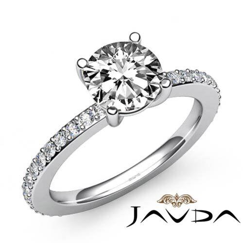 1.85ct Round Pave Set Diamond Engagement Stunning Ring GIA F VS2 14k White Gold