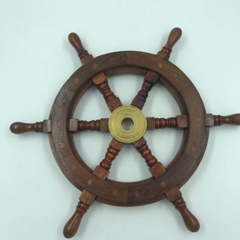Nautical Wood and Brass Ship Steering Wheel, Pirate Wall Decor, Fishing Boat