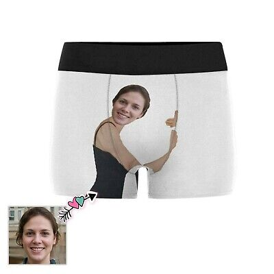 Custom Girlfriend Face On White Boxer Briefs Personalized Your Photo -