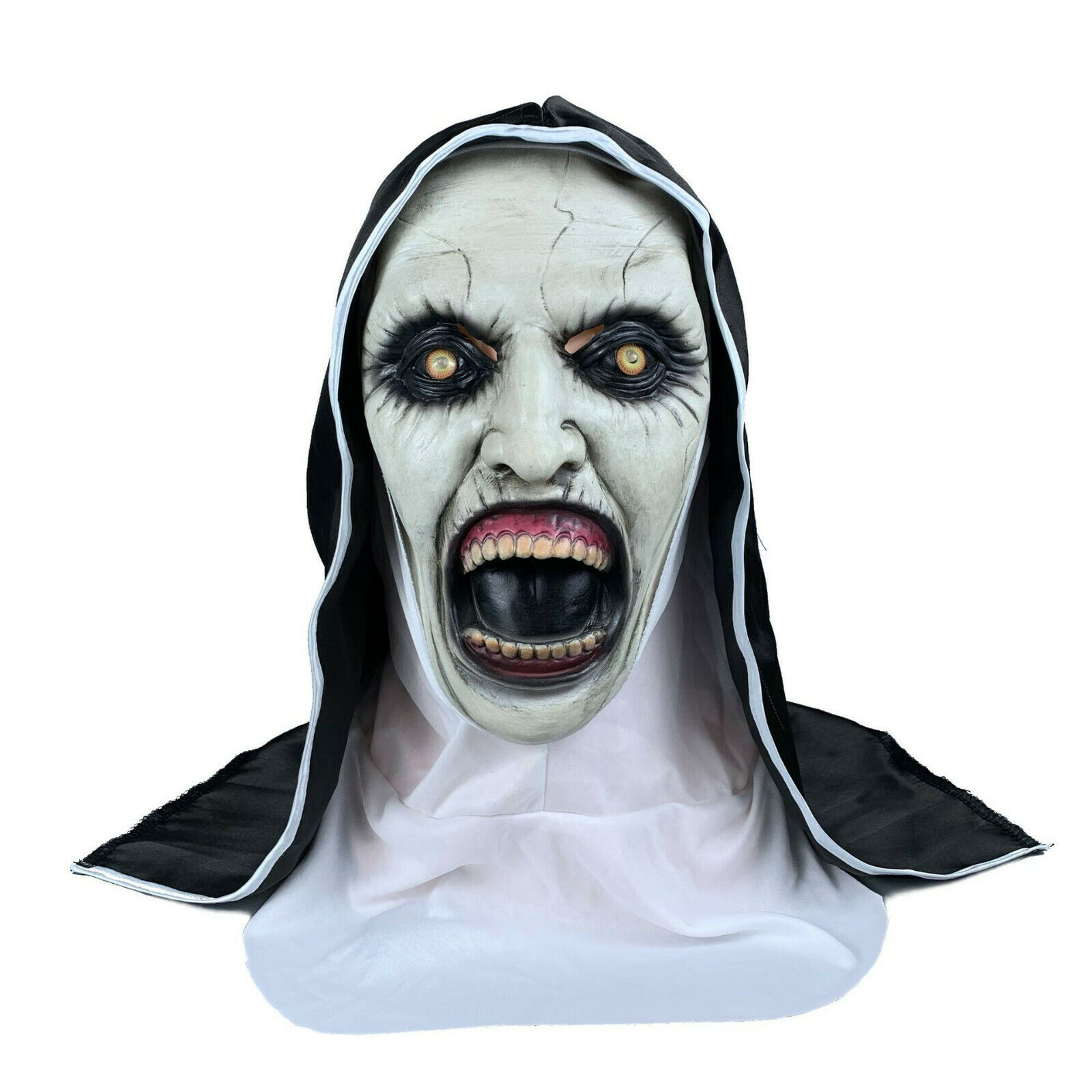 The Scary Open Mouth Nun Latex Mask w/Headscarf Horror Cosplay Halloween Costume Accessories