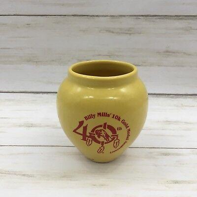 Vintage 40th Anniversary Billy Mills 10K Gold Medal Yellow Pottery Vase 40th Anniversary Vase