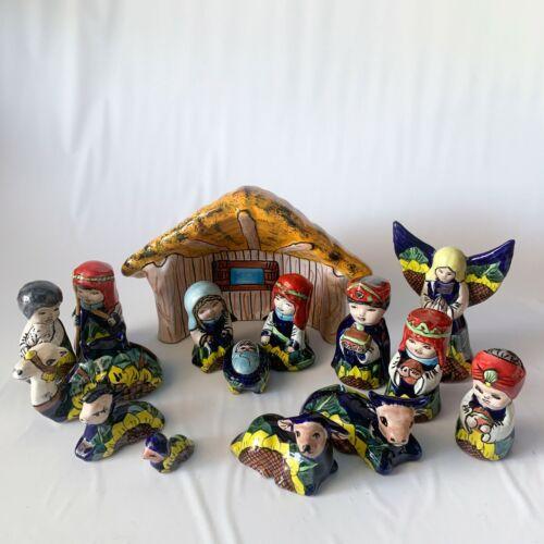 Talavera Mexican Pottery NATIVITY SET Hand Painted Folk Art Christmas Sunflower