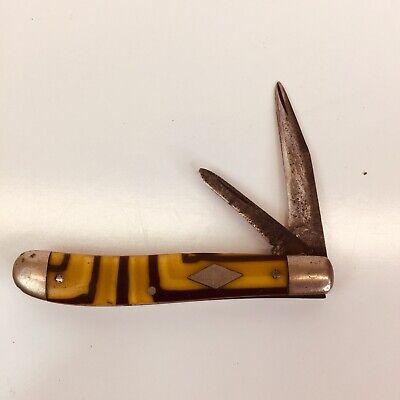 Shapleigh Hardware Co. D-E B650 Pocket KnifeButter & Molasses Celluloid Handle