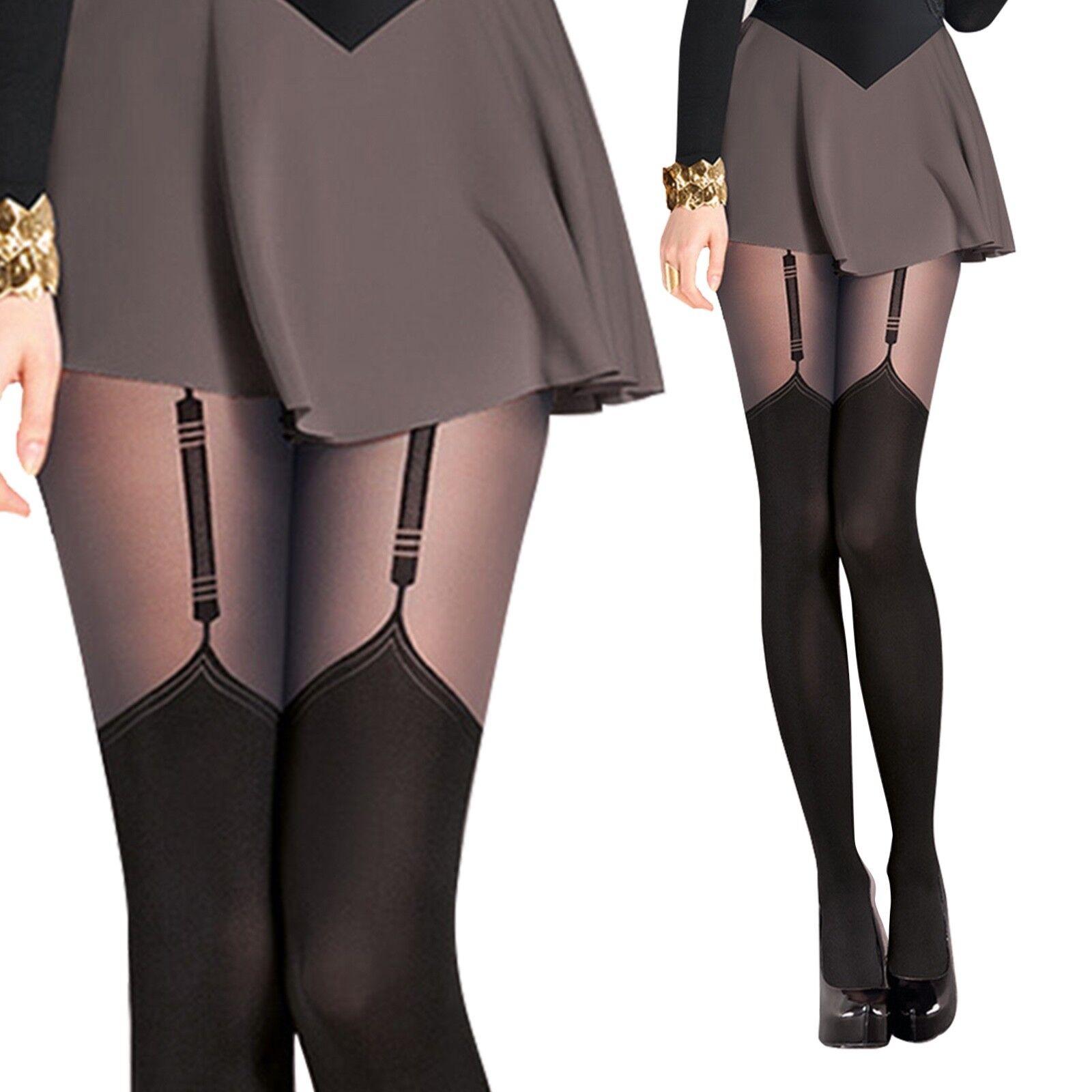 Damen Strumpfhose in Strapsoptik Sexy Muster Overknee Gr. S M L Schwarz 40 DEN