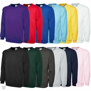 Plain-Classic-Sweatshirt-Sweater-Jumper-Top-Casual-Work-Leisure-Sport-UC203