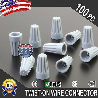 100PC Grey Twist-On Wire GARD Connector Conical nuts 22-16 Gauge Barrel Screw US