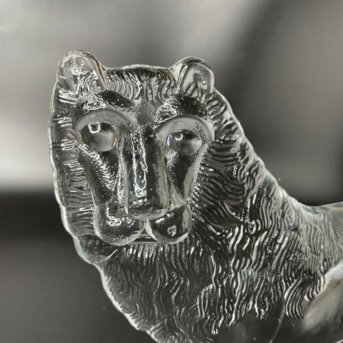 """Vintage Boda Clear Crystal Glass Standing Lion on Base Figurine Sweden 7"""" Tall"""