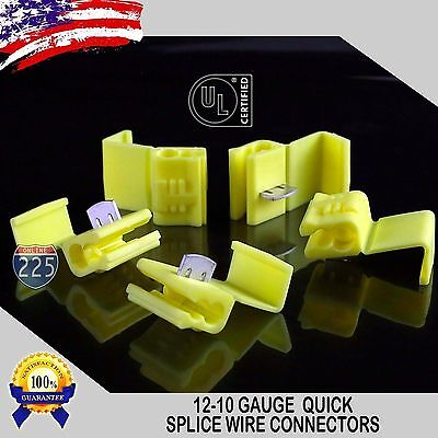 150 Pack 12-10 Gauge Yellow Quick Splice Tap Wire Connectors Terminals Ul Taiwan