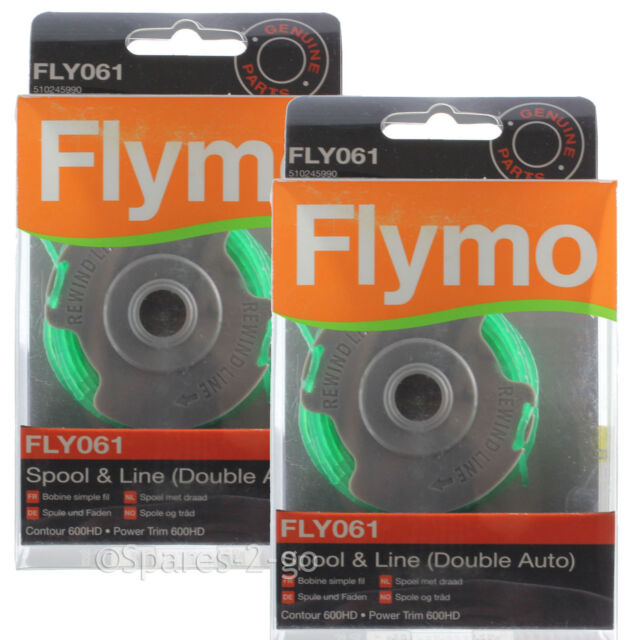 2 FLYMO Strimmer Spool & Line 2.0mm Double Auto FLY061 Genuine Power Trim 600HD
