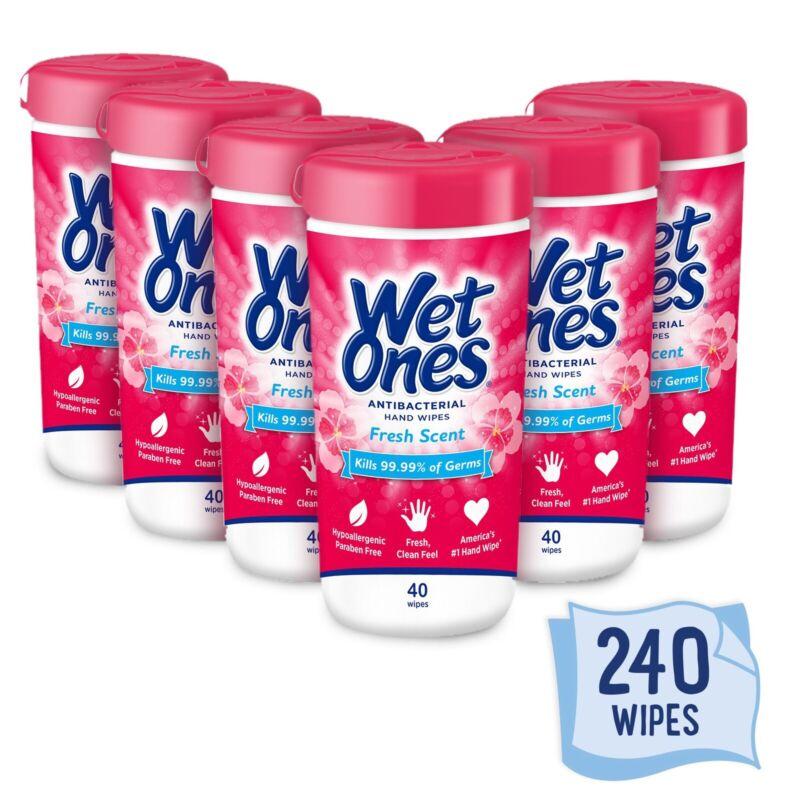 6 Wet Ones  Canister Fresh Scent 6 X 40 Ct