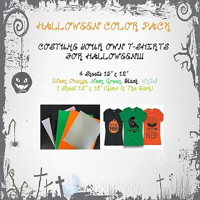 Heat Transfer Vinyl HTV Halloween Color Pack Sheets 15
