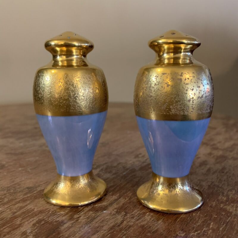 Antique RS Tillowitz Silesia Leroy Iridescent Blue Gold Gilt Salt Pepper Shakers