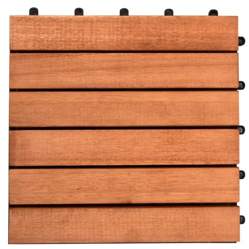 Outdoor Patio 6-Slat Interlocking Deck Tile (Set of 10 Tiles)