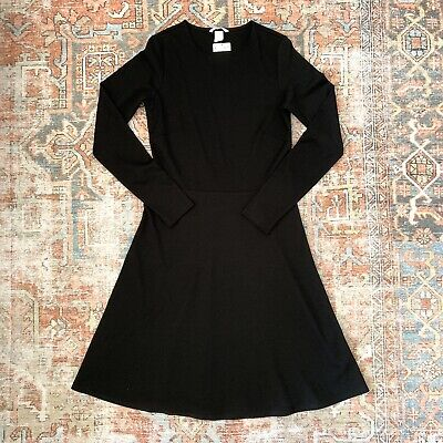 NWT H&M Women's Black A-Line Dress Long Sleeve Structured Fit Small