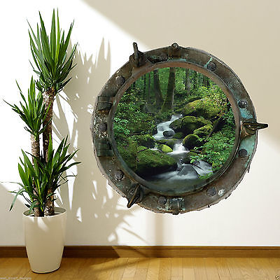 PORTHOLE Wild Jungle Waterfall River Colour Wall Art Sticker Decal Mural WSDFC51