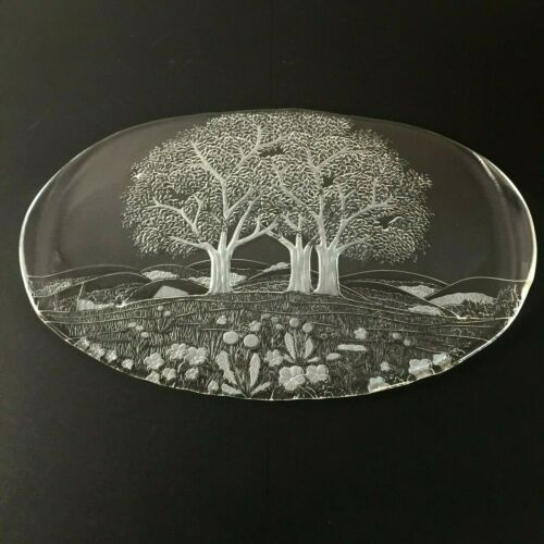 """Kosta Boda Clear Glass 17"""" Serving Platter Tray Trees Flowers Mountains"""