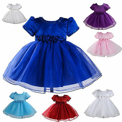 New Party Bridesmaid Flower Girl Dresses White,Ivory,Purple,Blue,Pink 6M-2Year (Purple And White Flower Girl Dresses)