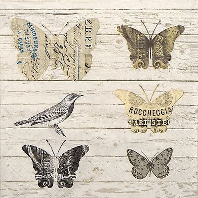 4x Paper Napkins -Paper Butterfly- for Party, Decoupage ()