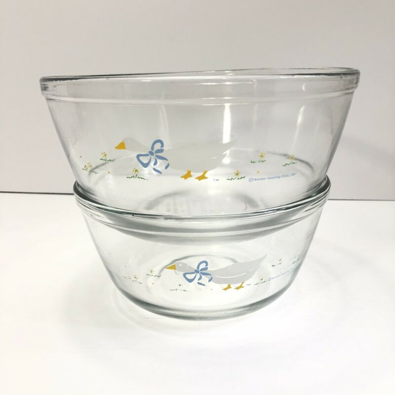 2 Vintage Anchor Hocking 1987 Clear Glass Goose Nesting Mixing Bowls 1.5 2.5 Qt