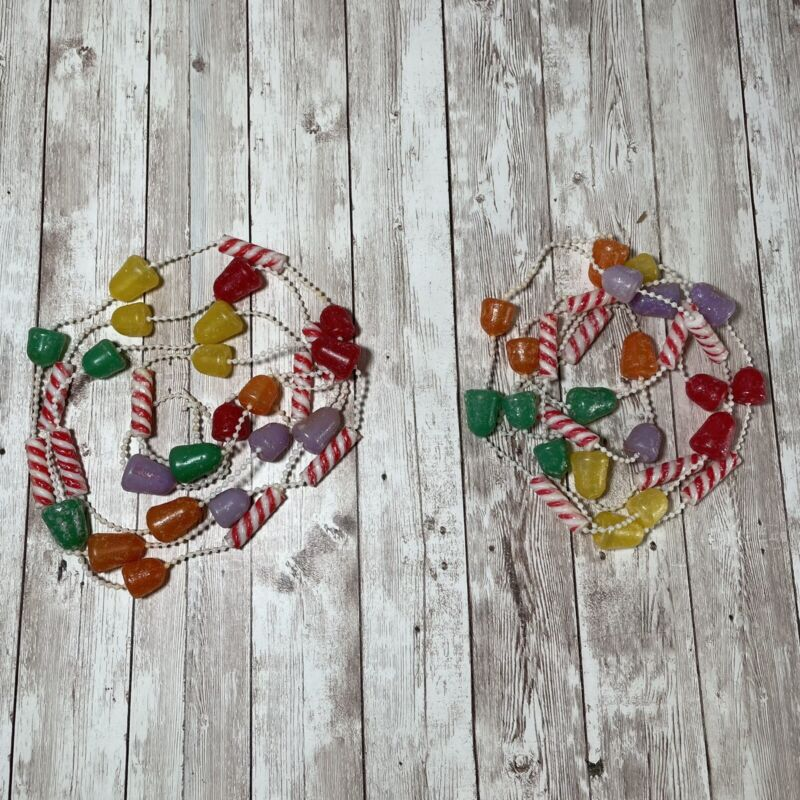 2 Vtg Sugared Christmas Candy Blow Mold Garlands Gumdrop Peppermint 7 Ft Strands
