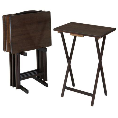 5 Piece Tray Table Set Folding BEVELED Wood Stand TV Snack Dinner Laptop Walnut