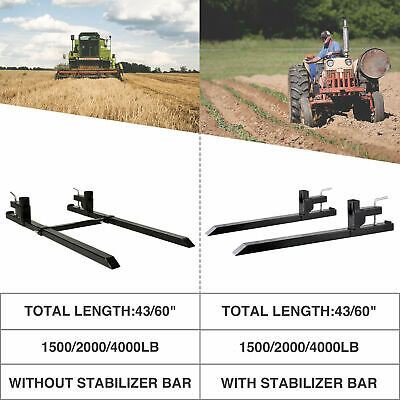 43 60 1500lbs 2000lbs 4000lb Clamp On Pallet Fork W Adjustable Stabilizer Bar