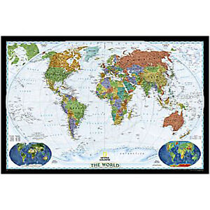 WORLD WALL MAP Decorative style by National Geographic
