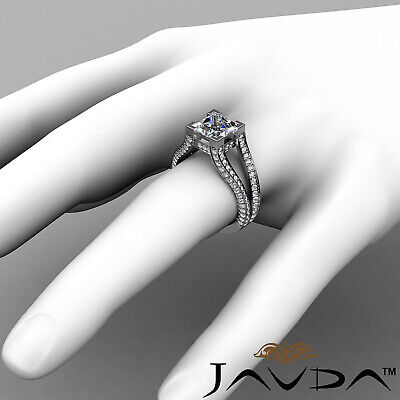 Circa Halo Split Shank Princess Diamond Engagement Pave Set Ring GIA H VS2 2.4Ct 3
