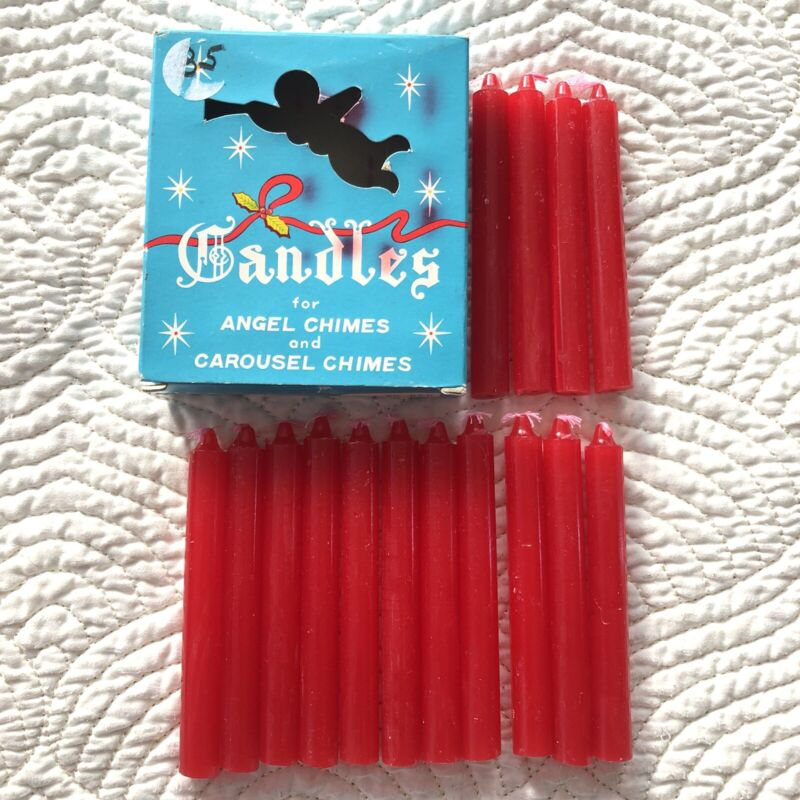 Vintage Box 15 Swedish Angel Carousel Chimes Red Christmas Candles Unused Japan