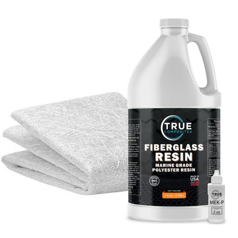 Fiberglass Repair Kit 1 Gallon of Polyester Resin and 1.5x38x5 Yards Fiberglass
