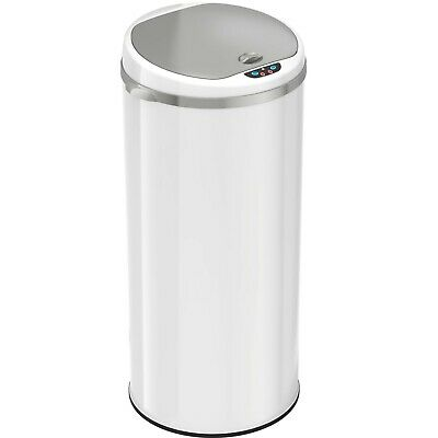 iTouchless 13 Gallon Round Sensor Trash Can, Pearl White [NEW]