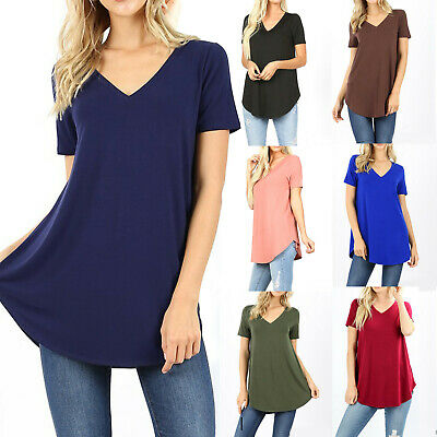 - Womens Loose Fit Short Sleeve T-Shirt V-Neck Casual Basic Tunic Top Long Blouse