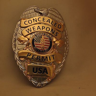 Concealed Weapons Permit badge USA Silver color base