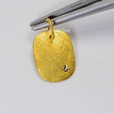 Solid 14K Yellow Gold Diamond Fancy Textured Rectangular Disc Charm Pendant (Yellow Gold Diamond Square Pendant)