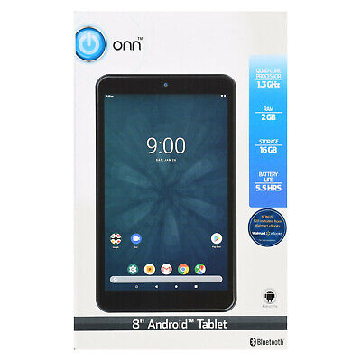 "ONN ONA19TB002 Tablet 8"" 16GB 2GB Quad-core Touch Wifi Android 9.0 Pie, Black"