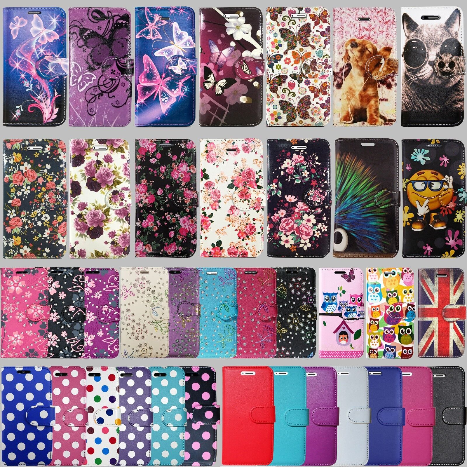 NEW Flip Wallet Leather Cover Case for Apple iPhone 5 5S SE 6 6S 7 & Plus Models
