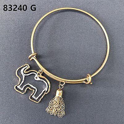 Animal Gold Bracelet - Gold Finish Double Animal Elephant Shape Charm Tassel Adjustable Bangle Bracelet