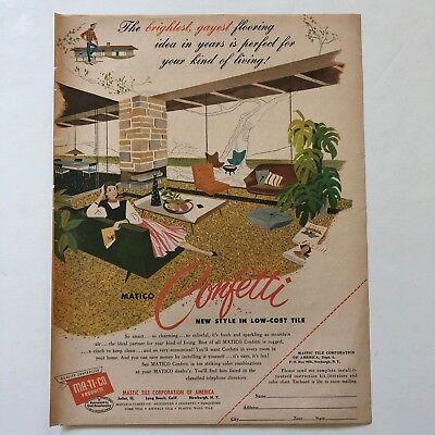 Vintage Matico Confetti Tile Flooring Mid Century Illustrated Magazine Ad 1954