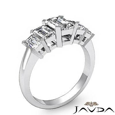 5 Stone Emerald Diamond Flashy Engagement Ring GIA H VS2 14k White Gold 2.5 ct 1