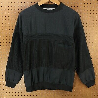 vtg 80s 90s EXCETERA pullover shirt long sleeve LARGE black knit coloblock goth 80s Knit Shirt