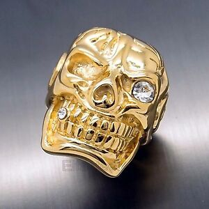 mens heavy gold skull cigar cz 316l stainless steel