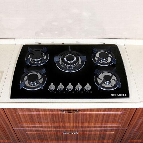 "30"" LPG/NG Gas Hob Cooktops Glass Built-in 5 Burner Kitchen"