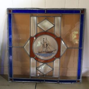 Antique Leaded Stained Glass (Bluenose Ship)