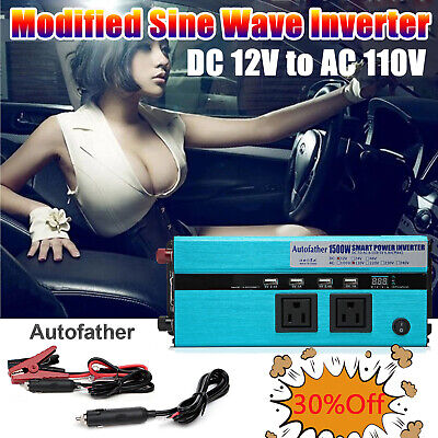 HOT 1500 watt /3000W Peak Power Inverter 12v dc to 110/120V AC Car Truck covid 19 (Dc Peak Power Charger coronavirus)