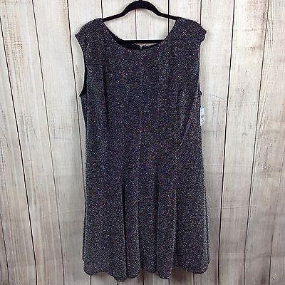 Simply Emma 20W Plus Women's Dress Sleeveless A-Line Glitter Knit Black (Glitter Emma Dress)