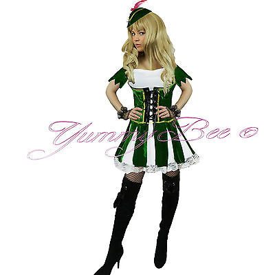 Yummy Bee Robin Hood Women Fancy Dress Costume Peter Pan Adult Plus Size 6-18](Plus Size Peter Pan Costume)