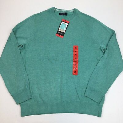 Nautica Men's Crew Neck Cotton Blend Sweater Medium Green