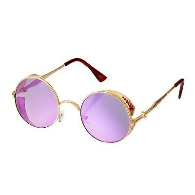 Gold + Purple Steampunk Glasses Cyber Round Retro Goggles Vintage Sunglasses UK