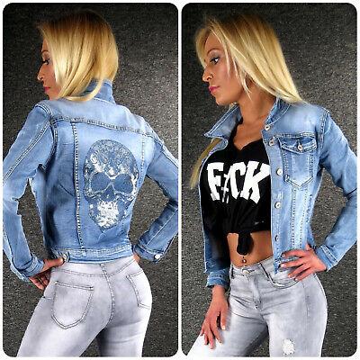 Jeansjacke Glitzer Totenkopf S M L XL ZAZOU Damen Jeans Jacke Sommerjacke Z3 Blau Damen Jacke